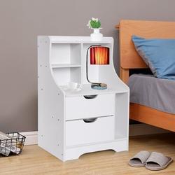 Red Barrel Studio® Guidotti 2 - Drawer Nightstand in White Wood in Brown/White, Size 27.55 H x 18.7 W x 11.81 D in | Wayfair