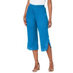 Plus Size Women's Crinkle-Knit Gauze Eyelet Capri by Roaman's in Vibrant Blue (Size 5X)