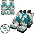 JOAIFO Vintage Sea Turtle Print Car Seat Covers Front Rear Seat Cover& Floor Mats& Steering Wheel Cover& Seat Belt Covers for Women Men,Washable
