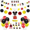 PRATYUS Mouse Party Decorations for Kids Mickey Theme Party Supplies Kits With Birthday Banner and Garland, Welcome Hanger and Cake Topper For Baby Shower First Birthday Party Decoration