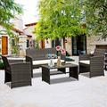 Hkeli 4 Piece Outdoor Patio Furniture, Leisure Patio Porch Rattan Furniture Sets, Indoor Outdoor Garden Furniture Sets with Tables, Suitable for Porches and Patio Porches, Brown