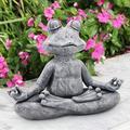 "3.74"" Garden Statue, Meditating Zen Frog Garden Yoga Figurine Garden Statue, Polyresin Garden Figurines for Outdoor Decoration, Garden Figurines Collectible Sculpture Yard Art Decoration Welcome Sign"