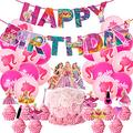 Girl Pink Birthday Party Supplies, Girls Theme Birthday Party Decorations ,Include Girls Happy Birthday Banner , Balloons,Cake Toppers,Happy Birthday Decorations For Princess Fans Birthday Party