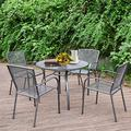 """AECOJOY 5-Piece Patio Metal Dining Set, Outdoor Metal Dining Table Set with Round Table 1.73"""" Umbrella Hole and 4 Stackable Arm Chairs, Patio Dining Bistro Set for Garden,Bistro,Deck,Dark Gray"""