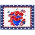 DaringOne Flag Day Area Rug, 60x96inch Multi-Purpose Carpet with Rubber Bottom, Indoor Rugs for Kids Room Dorm Nursery Laundry Bedroom, Bird Stripes Red Blue Blooming Flower Jar Rugby Star Border