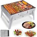 HYXFC Folding BBQ Grill Barbecue Grill Portable Barbecue Grill Stainless Steel BBQ Grill Foldable Charcoal Grill Outdoor BBQ Charcoal Grill for Outdoor Cooking Camping Hiking Grilling Picnics