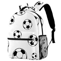 Hiking Backpack Laptop Backpack Football Soccer Black White Print Casual Large Capacity School Bag for Men Women for Work Office College Business Travel