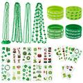 Whaline St. Patrick's Day Party Favor Set Include 12 Green Rubber Wristbands bracelet, 12 Shamrock Necklace and 70 Piece Temporary Tattoo Sticker for St. Patrick Irish Party Supplies Decorations