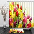 """BCNEW Colorful Tulip Lily Shower Curtain Sets with Bath Mat Rugs Wild Flowers Green Leaves Spring Floral Plant Decor with 12 Hook Holes for Bathroom Curtain 70""""x70"""" Doormat 29.5""""x17.7"""""""
