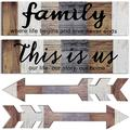 Jetec 4 Pieces This is Us Rustic Print Wooden Signs Wooden Family Signs Family Wooden Hanging Sign Decorations for Home Bedroom Living Room Kitchen Laundry, 15 x 4 x 0.2 Inch (Multi Color)
