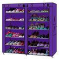 6-layer Double Row Portable Shoe Rack Closet Non-Woven Fabric Cover Shoe Storage Organizer Cabinet (Purple)