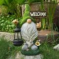 Garden Gnome Statue,Resin Gnome Figurine Holding Welcome Sign with Solar LED Lights,Funny Garden Figurines for Outdoor Home Yard Decor Funny Garden Figurines for Outdoor Home Yard Decor