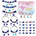 Aipridy 124 Pcs DIY Jewelry Making Kit Gift for Adults and Kids, European Lampwork Beads Metal Spacer Beads Rhinestone Supplies for Charms Bracelets Making kit(Saphire)