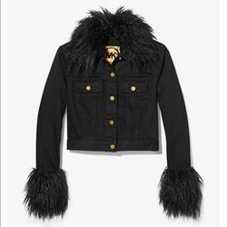 Michael Kors Jackets & Coats   Michael Kors Faux Fur Trim Denim Jacket   Color: Black   Size: S