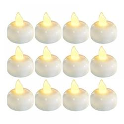 The Party Aisle™ 12 Pack Flameless Floating Candles Waterproof LED Floating Tealights Induction Floating Water Candle Lamp Romantic Wedding Waterproof Led Electronic CPlastic