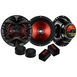"""2) BOSS CH6CK 6.5"""" 350W Car 2 Way Component Car Audio Speakers System Red Stereo (Renewed)"""