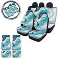 Forchrinse Aqua Blue Marble Print Vehicle Accessory Car Seat Cover + Floor Mat + Steering Wheel Protector + Car Seatbelt Pads 13pcs Set,Durable,Universal