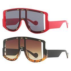 2Pack Oversized metal rivet trend Sunglasses Women Men Square Eyeglasses Big Frames Sun Glasses Men Sunglasses Eyewear (2Pack-white leopard&red)