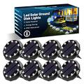Solar Ground Lights, 14 LED Solar Ground Lights Outdoor, 8 Pack IP45 Waterproof Solar Ground Lights, Solar Disk Lights for Pathway, Lawn, Patio, Yard