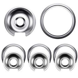 Cenipar Stove Burner Drip Pans WB32X10012 (6 Inch,3 Pack)&WB32X10013(8 Inch,1 Pack) with Trim Rings(4 Pack) Style D for Electric Surface Burner