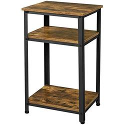 Topeakmart 3-Tier End Table, Industrial Nightstand, Side Sofa Telephone Table with Storage Shelf for Bedroom, Living Room, Rustic Brown