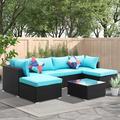 Latitude Run® 7 Pcs Outdoor Patio Furniture Sets Pe Rattan Wicker Sofa Sectional Furniture Set w/ 2 Pillows & Coffee TableWicker/Rattan in Black