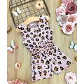 Mia Belle Girls Girls' Rompers Taupe - Girls Leopard Buttoned Drawstring Romper - Toddler & Girls