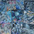Cartes série Dragon blanc yeux bleus, différents styles de dragons, archétypes, profond des yeux