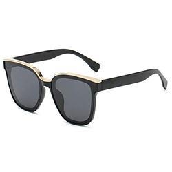 Sunglasses Women Ladies Trendy Modern Fashion Style Retro Big Square Cool UV Sunglass uv400 Shades Polarised Lenses-Black frame black gray film