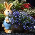 """Planter Garden Pots Planter Pots Unique Plant Pots 20"""" Tall Rabbit Pushing Wheelbarrow Planter Outdoor Large Planters Garden Decor (Color : Yellow, Size : 452251cm)"""