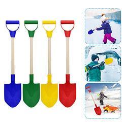 Yeslove 4PCS Beach Toys,Play Sand for Kids Outdoor Beach Sand Toys,Children's Snow Shovel Children's Beach Shovel with Wooden Handle (4PCS)