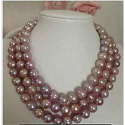 Necklaces Pendants, Long 48 Inch 9-10Mm South Sea Freshwater Pink Lavender Baroque Pearl Necklace