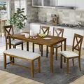 Harper & Bright Designs 6 Piece Dining Table Set,Wooden Dining Table Set with Bench and 4 Dining Chairs with Cushion, Kitchen Table Set for 6,Retro Style, Brown