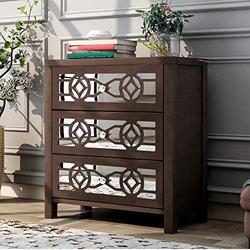 Storage Chest with Decorative Mirror and 3 Drawers, Wooden Accent Cabinet Nightstand Chest, Wide Storage Space Cabinet Organizer for Bedroom, Living Room, Entryway (Espresso)