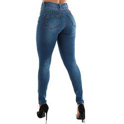 Moda Xpress Womens Juniors Levanta Cola Denim Jeans - Butt Lifting Jeans - High Waisted Butt Lifting Jeans - Plain Denim Women Jeans 10951U