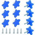 10 Pack Cartoon Kids Dresser Knobs for Bedroom Cute Drawer Knobs Cabinet Pulls and Knobs with Safety Soft Rubber (Blue Star)