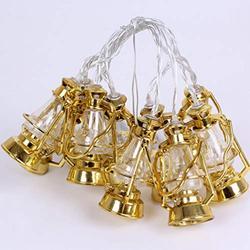 Mobestech Ramadan Eid String Light Golden Mini Kerosene Lamp String Light Ramadan Lantern String Light Ramadan Festival Light for Party Home, 1Pcs