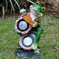 YONGMEI Solar Garden Statue Waterproof Garden Ornament Frog Garden Statue, Outdoor Solar Frog Ornaments, Glass Fiber Reinforced Plastic Sculpture in Garden Pool (Size : C)