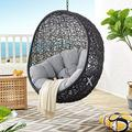 Modway EEI-3635-BLK-GRY Encase Wicker Rattan Outdoor Patio Swing Chair with Hanging Steel Chain in Black Gray