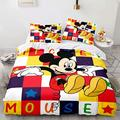 Haonsy 3 Pieces Kids Boys Mickey Minnie Mouse Bedding Set King Size Mickey Minnie Cartoon Duvet Cover Comforter Set 1 Duvet Cover 2 Pillowcase,No Comforter