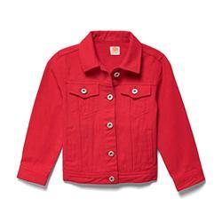 Lila Mae Toddler Colored Denim Jacket - Classic Kids Denim Jean Jacket (3T, Cherry)