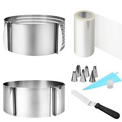 Cake Mold Rings Set,5PCS Adjustable Mousse Pastry & Cake Rings Set,6-12 Inches Cake Ring,6-8 Inches Cake Leveler With Cake Cutter,Acetate Sheets,Cake Collars,Measuring Spoons,Piping Bags for Baking