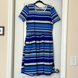 Lularoe Dresses | New Without Tags Shades Of Blue Striped Amelia | Color: Blue/White | Size: Xl