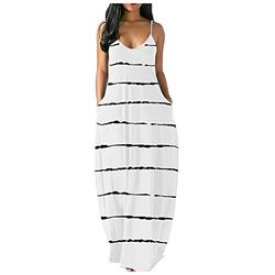 FRSH MNT Sexy Sleeveless O-Neck Pockets Camisole Long Dress for Women Casual Elegant, Solid Color Fashion Sexy Design Loose Beach Backless Maxi Dress for Lady, Plus Size, S-5X