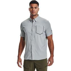 Men's Under Armour High Tide Performance Button-Down Golf Shirt, Size: Large, Grey