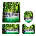 KREATIVE ARTS Green Waterfall Shower Curtains Non-Slip Rugs, Toilet Lid Cover and Bath Mat for Bathroom Fabric Nature Forest Shower Curtain Bath Accessories 12PCS Hooks