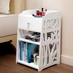 Nightstand with Drawer and Shelf,Bedside Tables Cabinet 1 Drawer Night Stand Storage Furniture Shelf Cupboard End Table Chest for Home Office College (White)