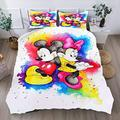 Mickey Mouse Minnie Mouse Bedding Set Duvet Cover 3Piece King Size Bed Set for Girls Kids Boys Mickey Mouse Bedding Cover Duvet Case