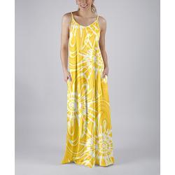 Beyond This Plane Women's Maxi Dresses YLW - Yellow & White Tie-Dye Swirl Pocket Sleeveless Maxi Dress - Women & Plus