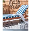 SAFAVIEH Patio Chaise Lounges NATURAL/NAVY - Navy Stripe Solano Patio Chaise Lounge